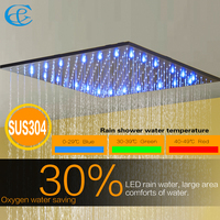 Matte Frosted Blacken Bath & Shower Mixer Faucet Bathroom Imitation Amazon Rain Ceiling Water Temperature LED Shower Head