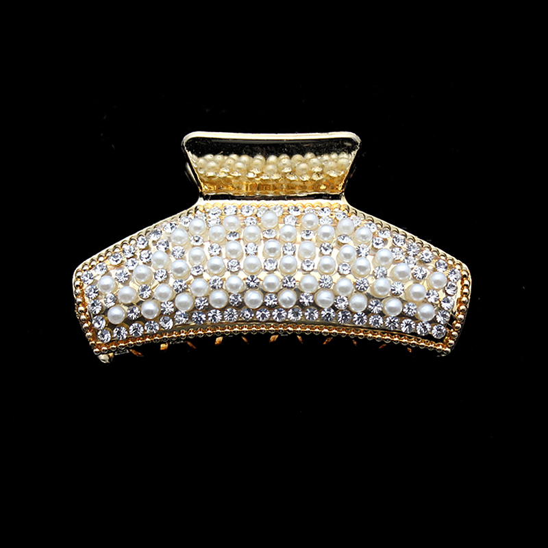 Gold Korean Fashion Luxury Pearl Claws With Rhinestones Crystal Crab Hair Claw Clip Hairpins For Women Girls Hair Accessories