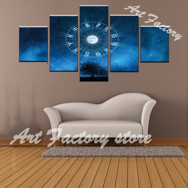 5 Panel Framed HD Printed Constellation Wall Art Picture Modern Home ...