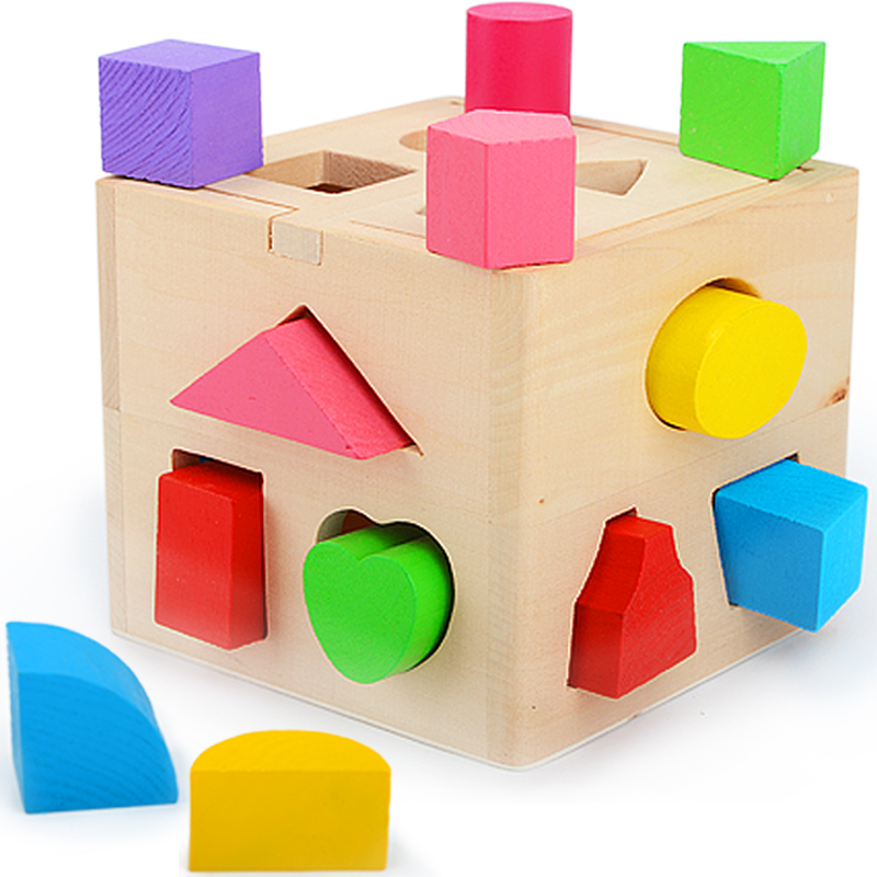 Baby Toys Shape Sorting Cube Classic Educational Wooden Toys For Children Intellectual Toy Geometry Box Birthday Gift wooden blocks toys digital geometry clock children s educational toy for baby boy and girl gift