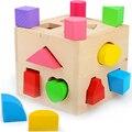 Brinquedos do bebê Forma Sorting Cube Educacionais Brinquedos De Madeira Para Crianças Brinquedo Intelectual Clássico Geometria Caixa de Presente de Aniversário