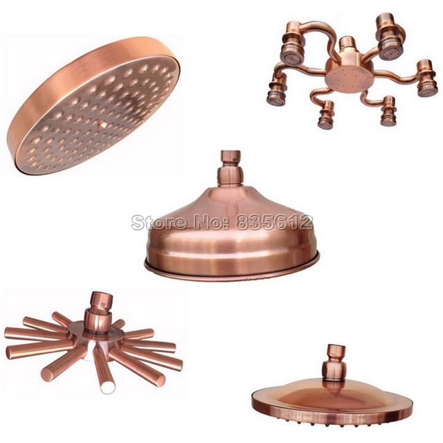 Rainfall Shower Head Antique Red Copper Round Shape Shower Heads