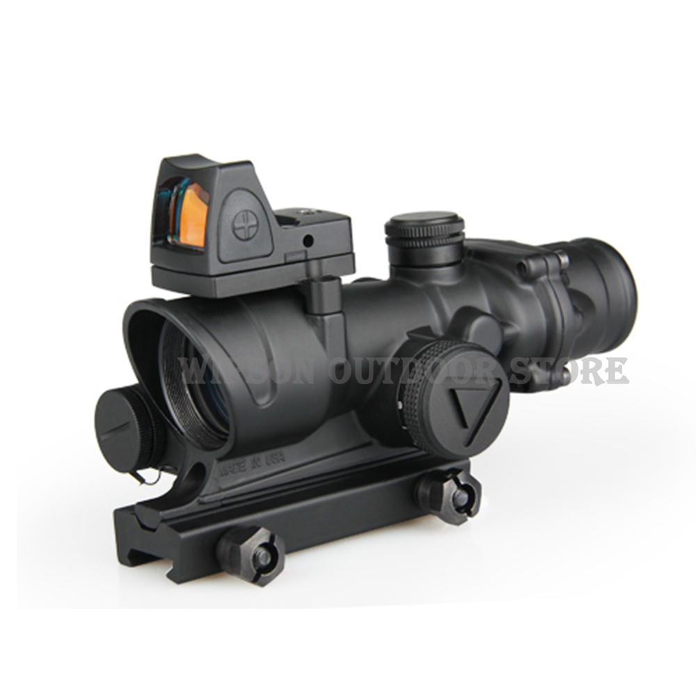 WIPSON Tactical Trijicon ACOG 4x32 LED Scope HD Sight Scope Illuminated RifleScope With Reflex Adjustable Min Red Dot Sight wipson lanterna airsoft led light tactical kit includes la 5 peq 15