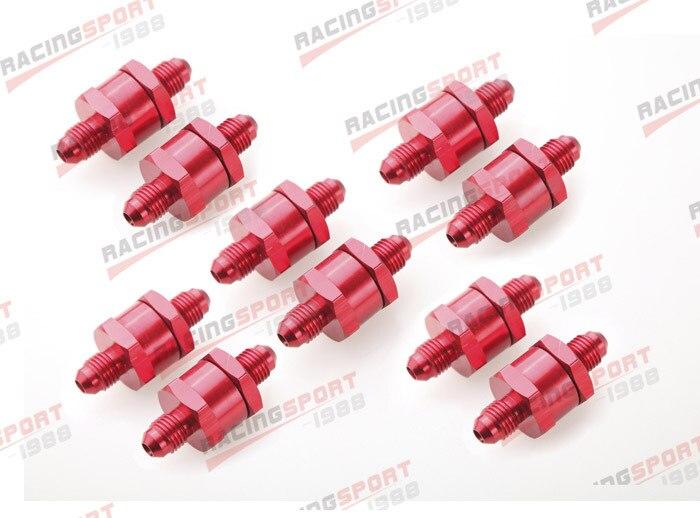 10 pièces 4AN Carburant Retour Un Clapet anti-Retour Essence Diesel D'alliage D'aluminium OWV-06-RED-10
