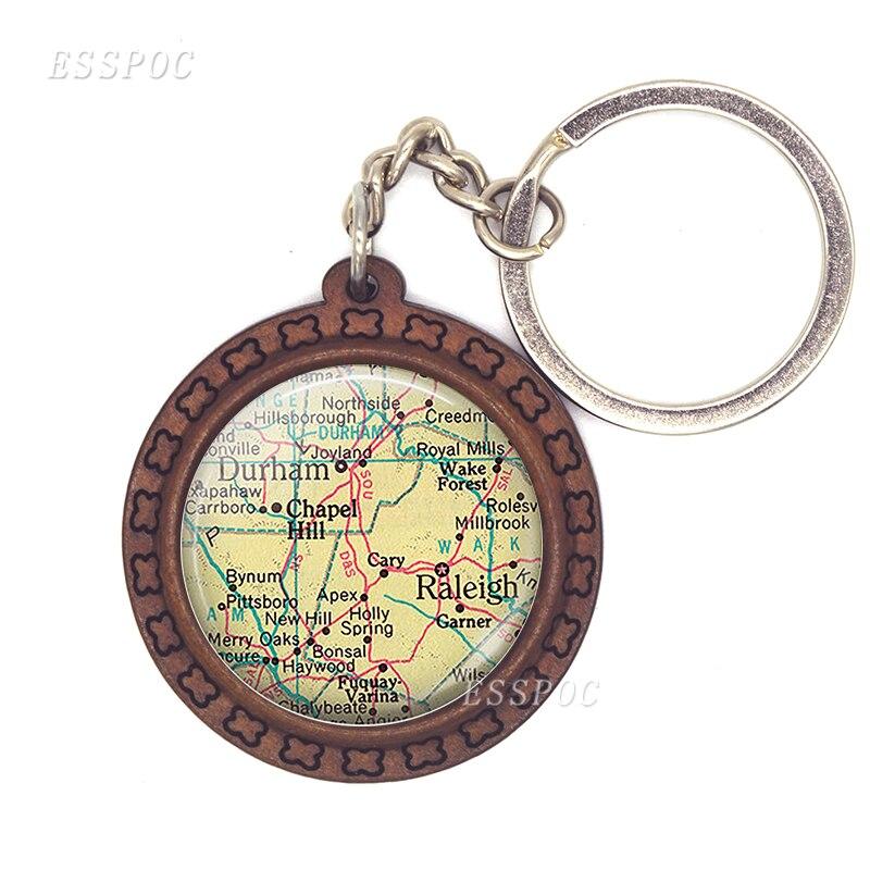 Vienna Map Key Chain New Design Wooden Key Marseille Map Glass Cobochon Jewelry Car Keychain Men's Gift