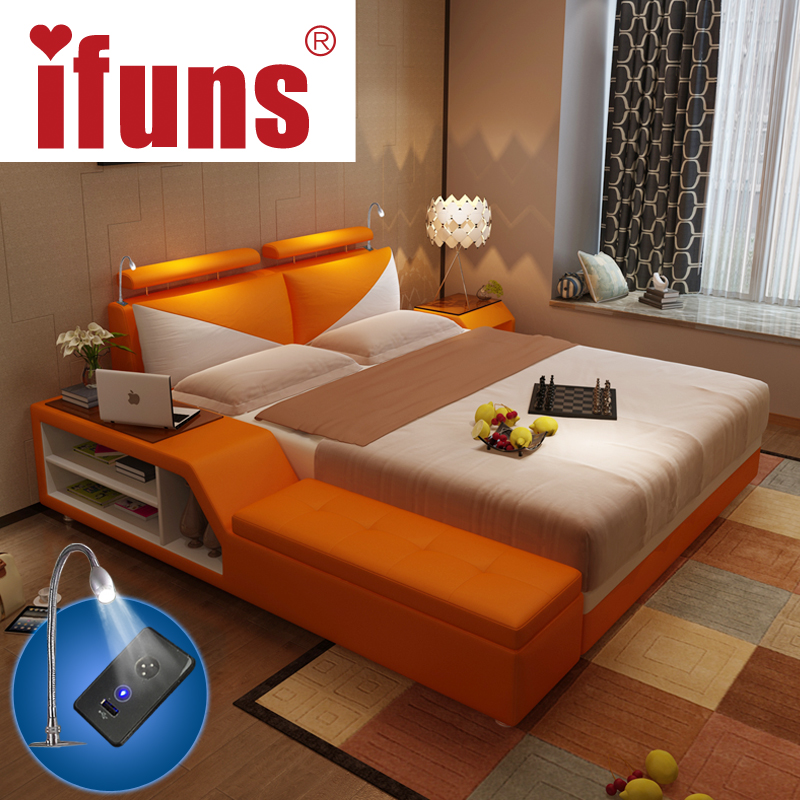 IFUNS Luxury Bedroom Furniture Sets King Queen Size Double Bed Frame Genuine Leather Storage Chaise Tatami LED Night USBcharge In Beds From On