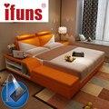 Ifuns lujo muebles juegos de dormitorio king y queen size marco de la cama doble de almacenamiento de cuero genuino silla tatami usbcharge de la noche del led