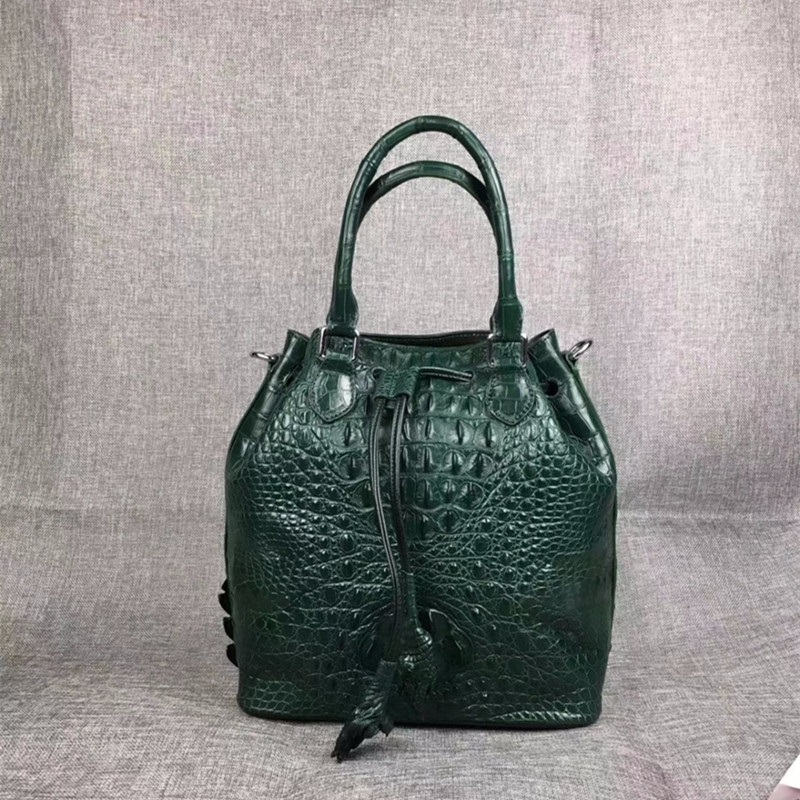 купить Fashion Designer 100% Genuine Crocodile Skin Exotic Alligator Leather Women's Blue Bucket Bag Purse Female Shoulder Bag Handbag по цене 31067.65 рублей
