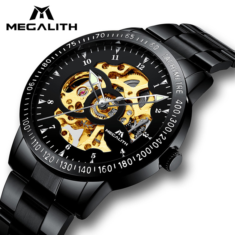 цена на MAGALITH Men Automatic Skeleton Watch Sport Design Golden Watch Mens Watches Top Brand Luxury Montre Homme Watch For Men Clock