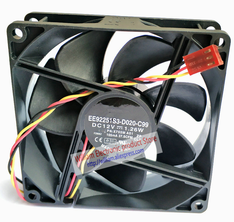 New Original For Dell X755M Vostro 200 400 Studio XPS 8100 PVA092G12M EE92251S3-D020-C99 X755M 12V 1.26W Cooling fan FONSONING