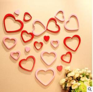 5 шт./компл., съемная Diy настенная палка для столовой, романтическая форма сердца, 3d настенная художественная наклейка, стикер на стену в форм...