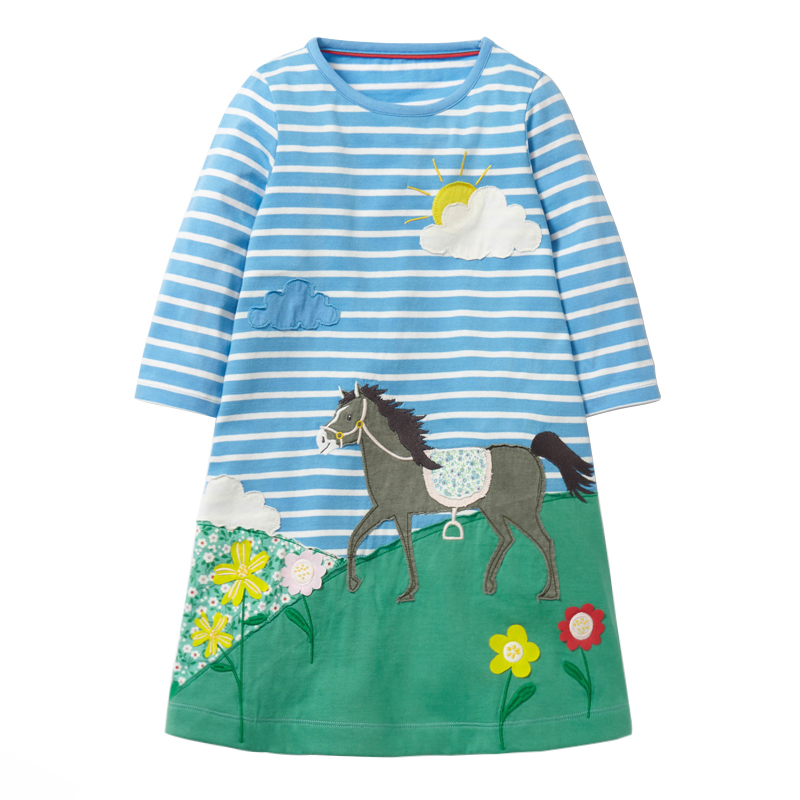 цены littlemandy Striped Horse Autumn Princess Dress Animal Pattern 2018 New Kids Dresses For Baby Girls Clothes Long Sleeve Children