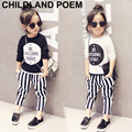 Autumn fashion girls clothing sets stripe boys clothes letter print t Shirt +striped pants children clothing set