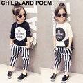 Autumn fashion girls clothing sets stripe boys clothes letter print t Shirt +striped pants children clothing set