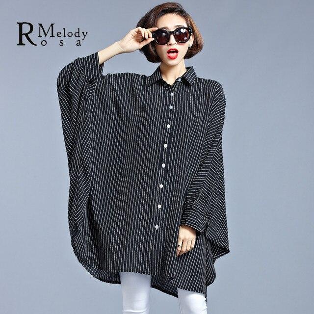 2016 Plus Size Roupas Femininas Europeia Listrado Vertical Moda Blusa Preta para As Mulheres Fit 4XL ~ 7XL (R. HS0015 melodia)