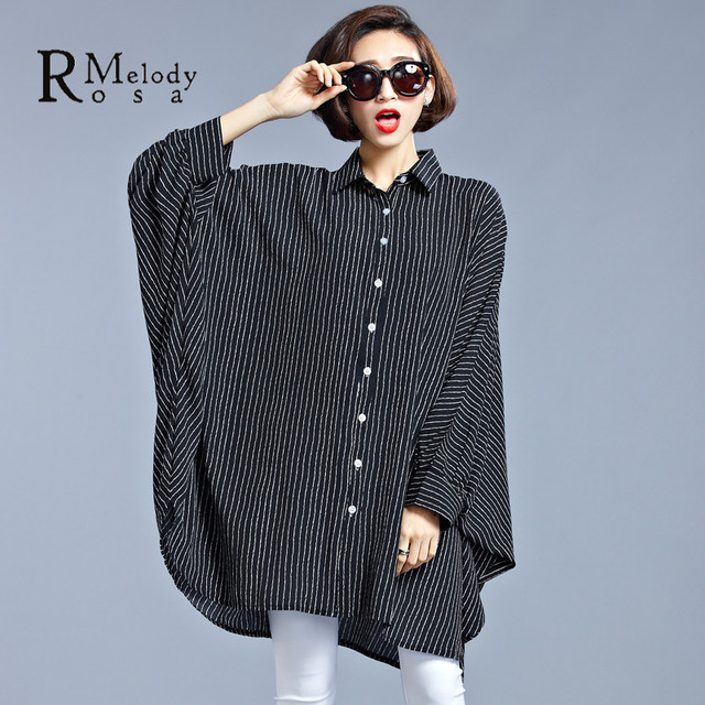 a460468381 2016 Plus Size Women Clothing European Striped Vertical Fashion Black  Blouse for Women Fit 4XL~7XL (R.Melody HS0015)-in Blouses & Shirts from  Women's ...