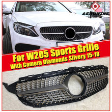 W205 Diamonds Grille grill ABS silvery With Camera Fits For MercedesMB C-Class C200 C180 C250 C260 Sports Front Grills 2015-2018