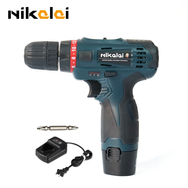 NIKALAI 12V two speed rechargeable lithium battery cordless screwdriver hand electric drill household electric screwdriver tools