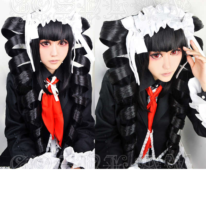Danganronpa Celestia Ludenberg Cosplay Wig Black Spiral Curl Long Synthetic Hair + Wig Cap