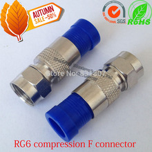 Blue Copper RG6 Compression coaxial cable f connector Waterproof  F Coaxial Connector RG59 RG11