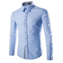 2016 New Mens Shirt Casual Slim Fit Shirt Single Breasted 7 Different Color Social Chemise XXL YD-8771