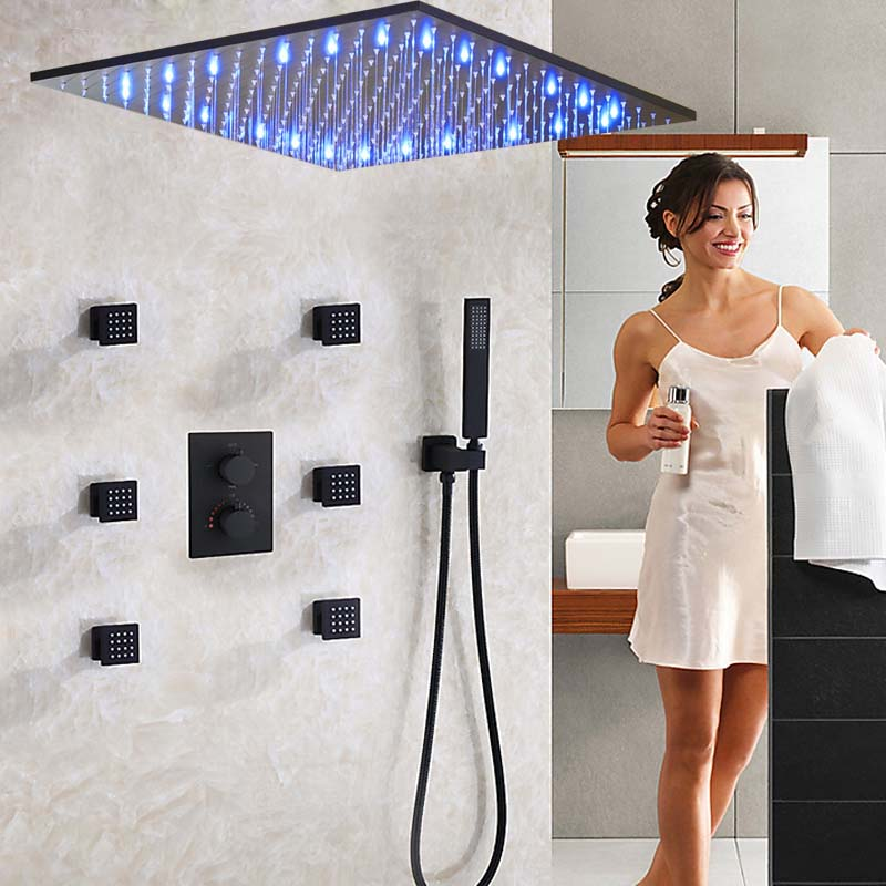 Ceiling Mounted 20 Shower Head Faucets LED Shower Sprayer Massage Jets Thermostatic Valve Mixer Tap W/ Hand Shower Sprayer