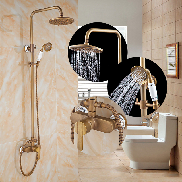 Free shipping Antique Showerset Wall Mounte Shower Mixer with ...