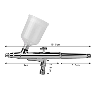 Image 2 - Airbrush Guns 40CC With 3 Nozzles (0.2 & 0.3 & 0.5mm) & 2 Cups Tattoos Spray Air Brush Body Paint Art Nail Art Craft Cake Tools