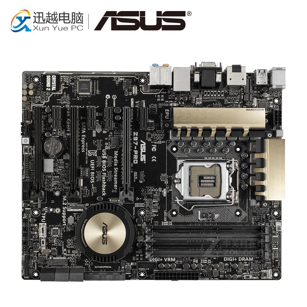 Asus Z97-PRO Desktop Motherboard Z97 Socket LGA 1150 i7 i5 i3 DDR3 32G SATA3 USB3.0 ATX for asus z97 k original new desktop motherboard for intel z97 socket lga 1150 for i7 i5 i3 ddr3 32g sata3 usb3 0 atx