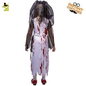 Image 3 - Neue Kinder Halloween Horror Blutigen Braut Party Kostüme Geist Braut Cosplay Kostüm Mädchen Blut Kleid maskerade vampire kleidung