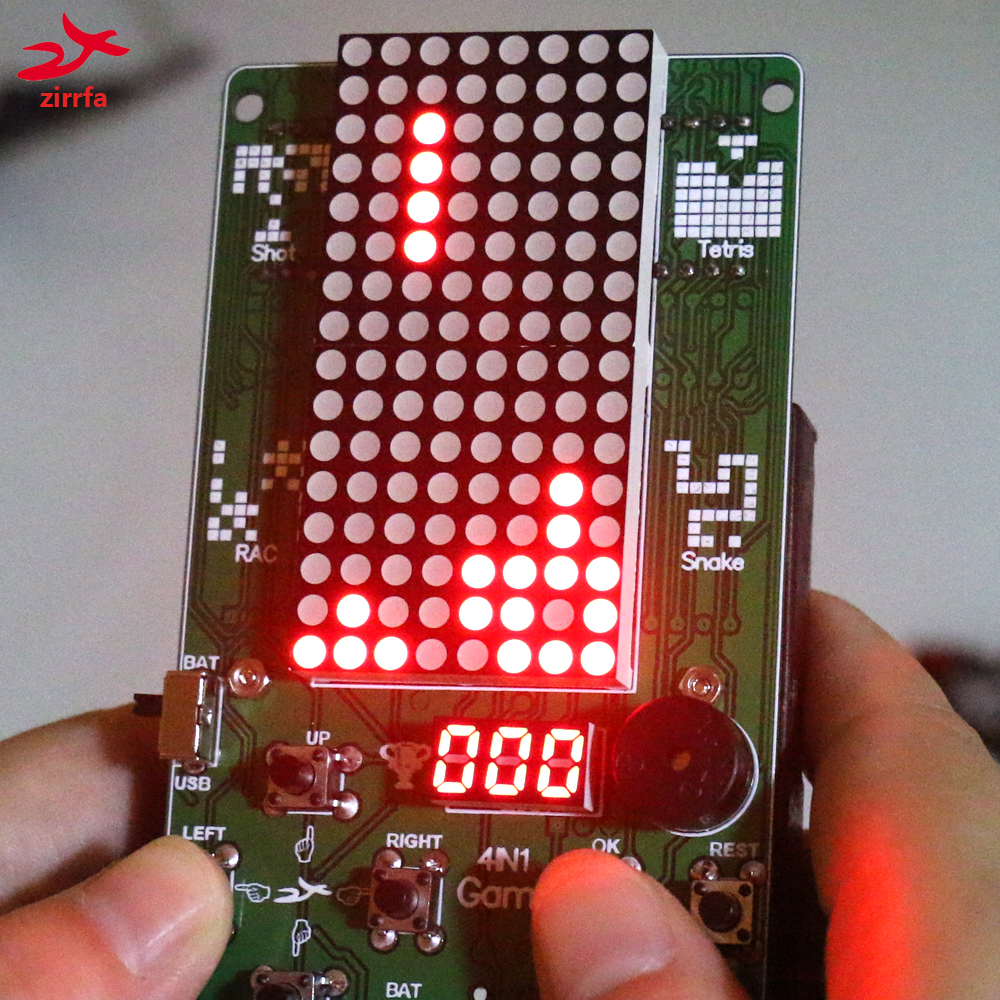 Electronic DIY Kit 8x16 Dot matrix game machine for Tetris/Snake/Shot/RacingDot