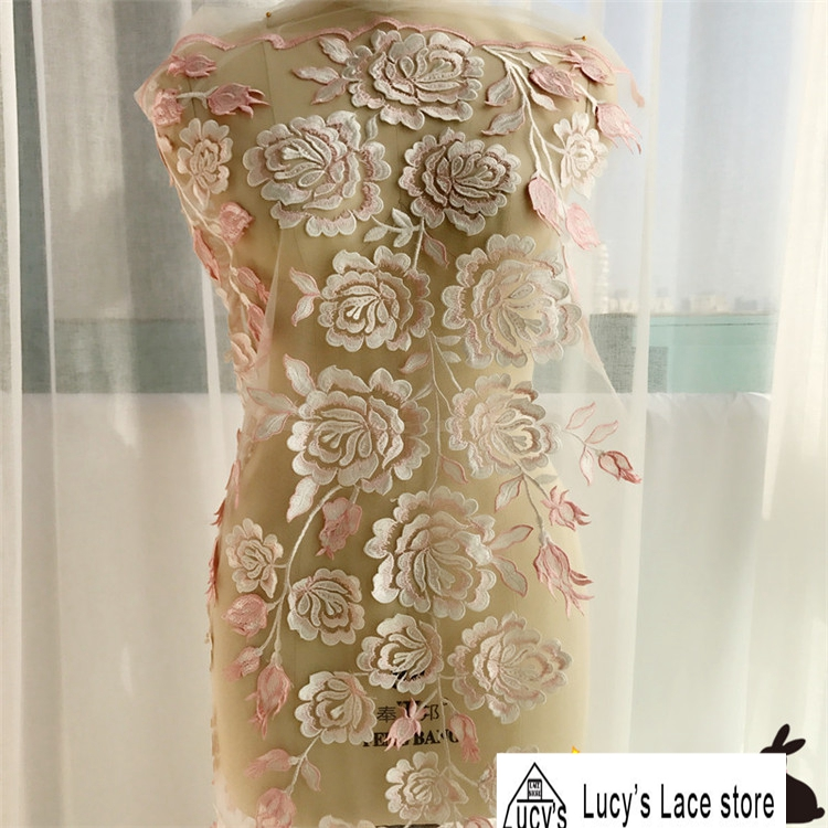 1 Yard 3d Rose flowers lace fabric Pink embroidery tulle mesh high end child girls dress making 2018 NEW lace