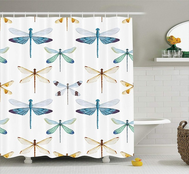 Dragonfly Shower Curtain Collection Of Regularly Pattern Short Lives Symbol Composition Bugs Orange Blue