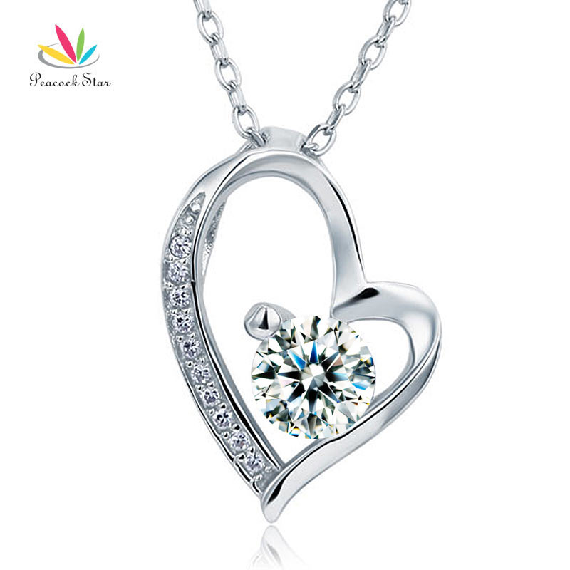 Peacock Star Solid 925 Sterling Silver Wedding Heart Pendant Necklace Bridesmaid Jewelry CFN8033