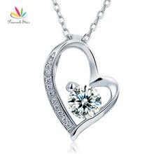 Pavo real Estrella Sólida Plata de ley 925 Colgante de Corazón Collar de la Joyería de la dama de Honor de La Boda CFN8033