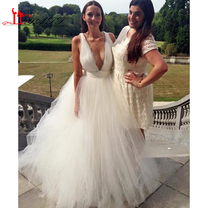 Y Summer Beach Wedding Dress Plunging Neckline Puffy Tulle A Line Bridal Gown V Backless Custom Designer Country Bride In Dresses From