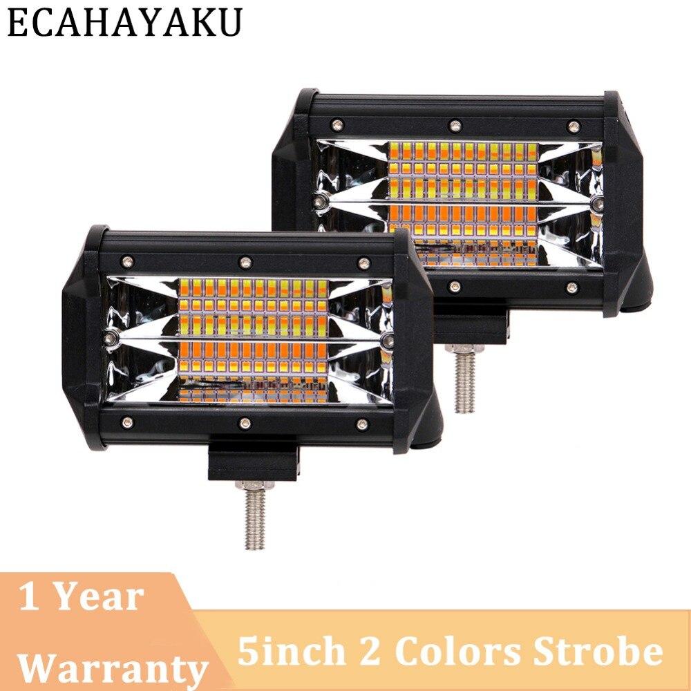 ECAHAYAKU 2pcs 5 Inch 72W 3000K 6000K Offroad Led Work Light Bar 5 light types Fog