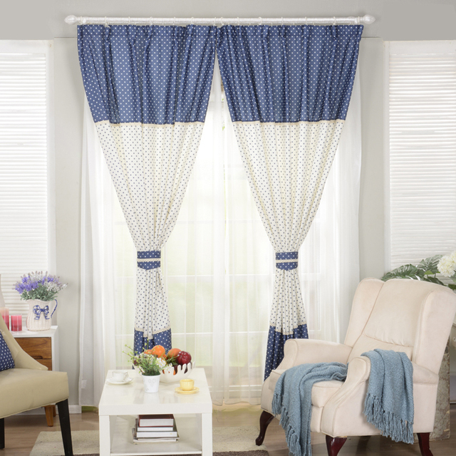 White With Blue Little Star Print Curtains For The Living Room Blackout Curtain Cute Fancy