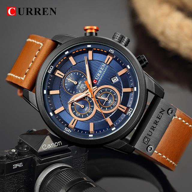 Curren Watch Top Brand Man Watches with Chronograph Sport Waterproof Clock Man Watches Military Luxury Men's Watch Analog Quartz