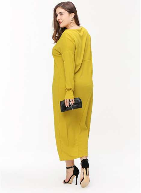 d780f3637f7 Online Shop Plus Size Winter Women Dresses New Fashion Long Sleeve Mid-Calf  Length Loose Dress Big Size Casual Dress L-3XL