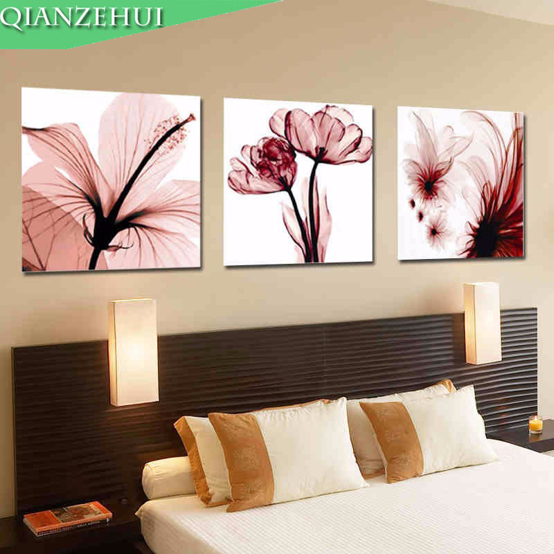 QIANZEHUI,Needlework,DIY Lily Flower Cross Stitch, Flower Triptych Cross-stitch,Sets For Embroidery Kits Wall Home Decro