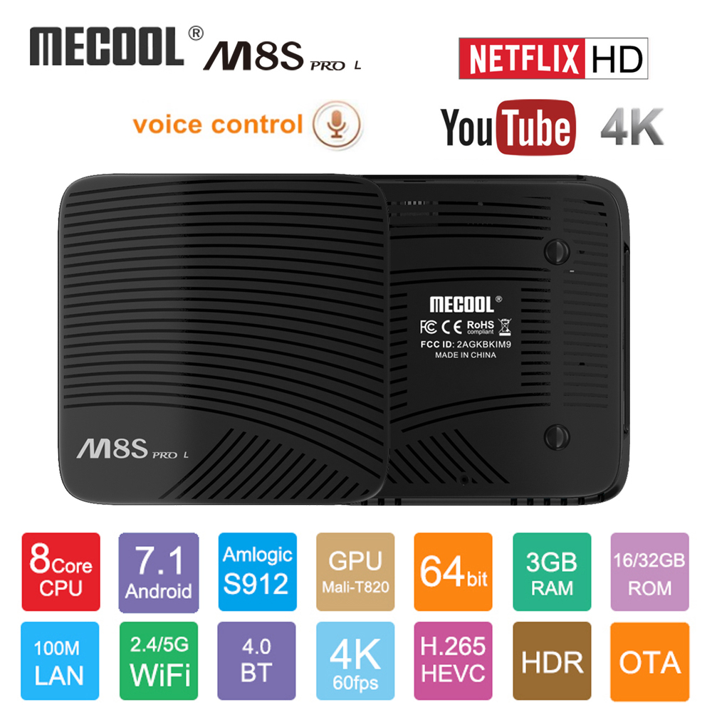 Mecool M8S PRO L Voice Control Smart TV Box Android 7.1 Amlogic S912 Octa Core Bluetooth WIFI 4K Set-top Box HDMI 3GB DDR3 16GB mecool m8s pro l 4k tv box android 7 1 smart tv box 3gb 16gb amlogic s912 cortex a53 cpu bluetooth 4 1 hs with voice control