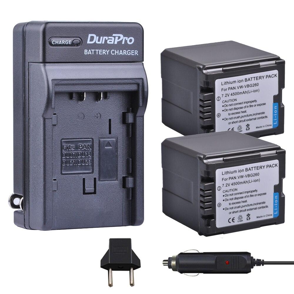2 Unid 4500 mAh VW-VBG260 VW VBG260 batería + cargador de coche para Panasonic HDC-SD3 HDC-SD5 HDC-SD7 VDR-D310 VDR-D50 VDR-D51 SDR-H200
