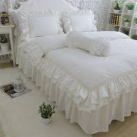 Ruffle Fairyfair Solid Bedding Sets Girl Cotton Twin Full Queen King Single Double Bedclothes Pillow Cases