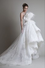 Freeshipping Limited Edition Prachtige Veren Lace Bridal Trouwjurk