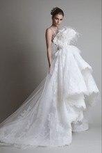 Freeshipping limitowana edycja przepięknych piór koronkowa suknia ślubna