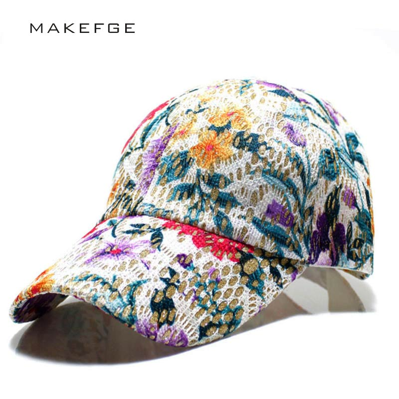 Women's Baseball Caps Lace Sun Hats Breathable Mesh Hat Gorras Summer Cap For Women Snapback Casquette Flower printed summer hat new arrival women turban hats flower dome hat head wrap chemo hats bandana hijab knotted indian cap