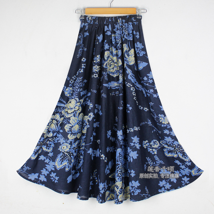 Promote╩Linen Skirt Ethnic-Print Cotton Bohemia-Style Thick Long-Flowing New-Fashion Multicolor┼