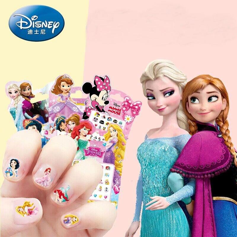 Disney Frozen Elsa And Anna Makeup Toys Nail Stickers Disney Snow White Princess Sophia Mickey Minnie Kids Earrings Sticker Toys