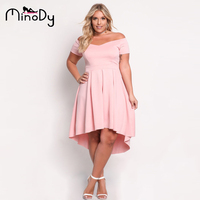Minody Women Party Dresses Large Sizes Off Shoulder Tunic Summer Autumn Black Pink A Line Fit